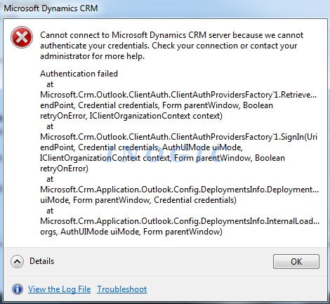 Microsoft Dynamics CRM Error