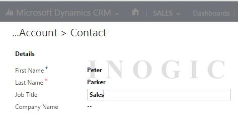 Quick Create Contact form