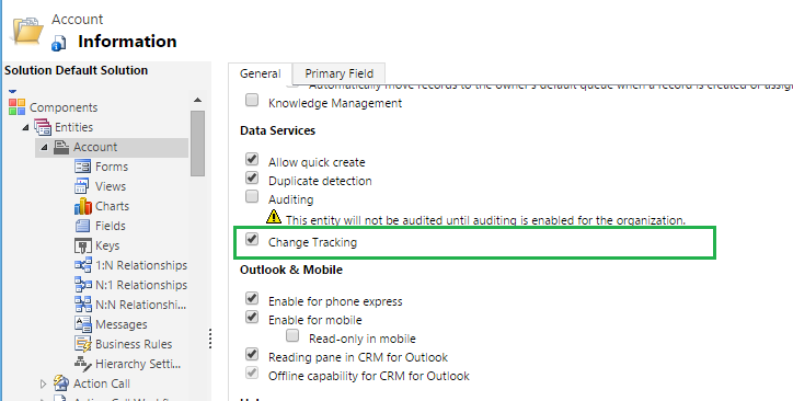 Change Tracking Feature of CRM 2015 Online Update 1
