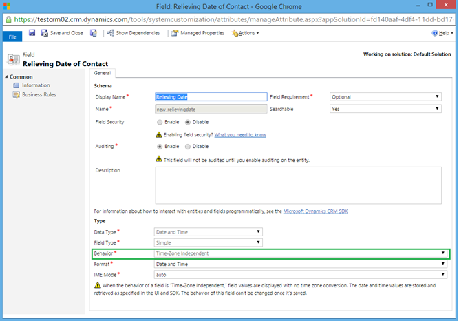 Handling Date/Time fields in Microsoft Dynamics CRM 2015