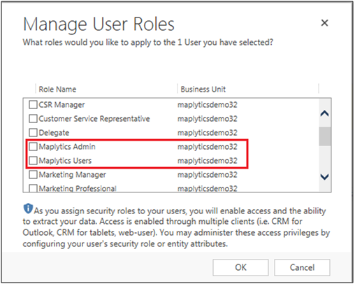 manage security roles in maplytics