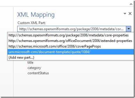 the attributes of the selected entities appear in the xml mapping area word template xml mapping