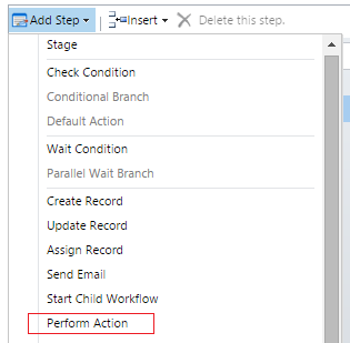 perform action in crm