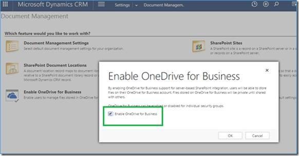 enable onedrive in dynamics crm