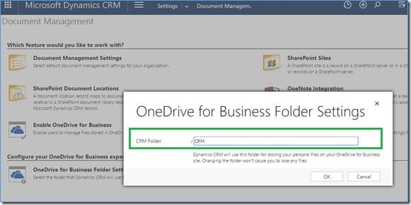 onedrive for business folder settings in crm