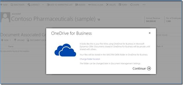 onedrive in crm 2016