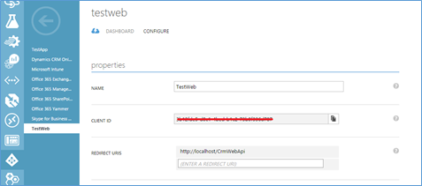 configure web api in crm