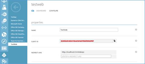 configure web api in crm