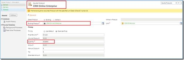 Quote Product in Source CRM