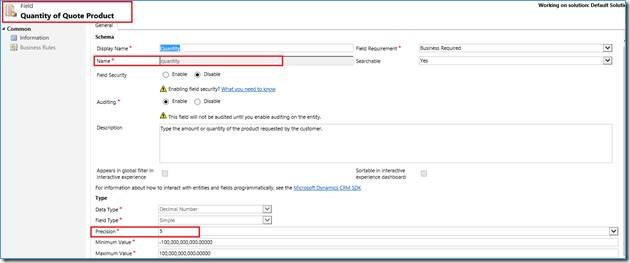 Field Quantity of the Quote Product in Destination CRM