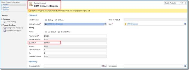 Quote Product in Destination CRM