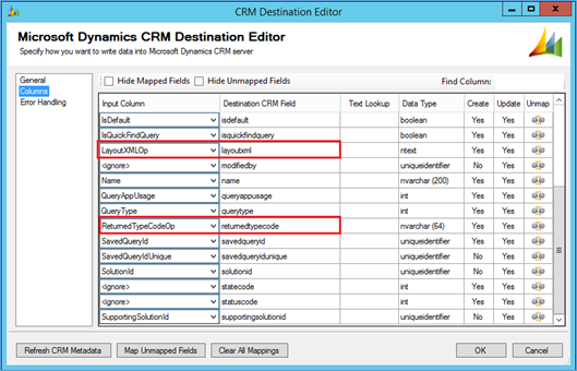 migrate views through SSIS in Dynamics CRM