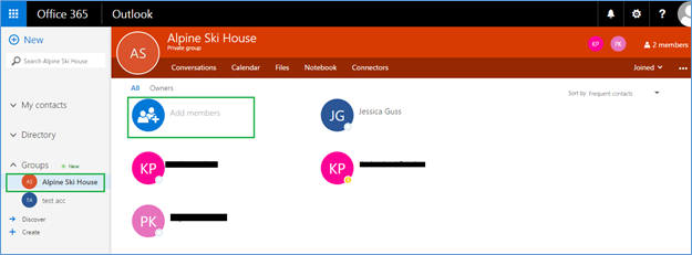 Add Members in office 365 group
