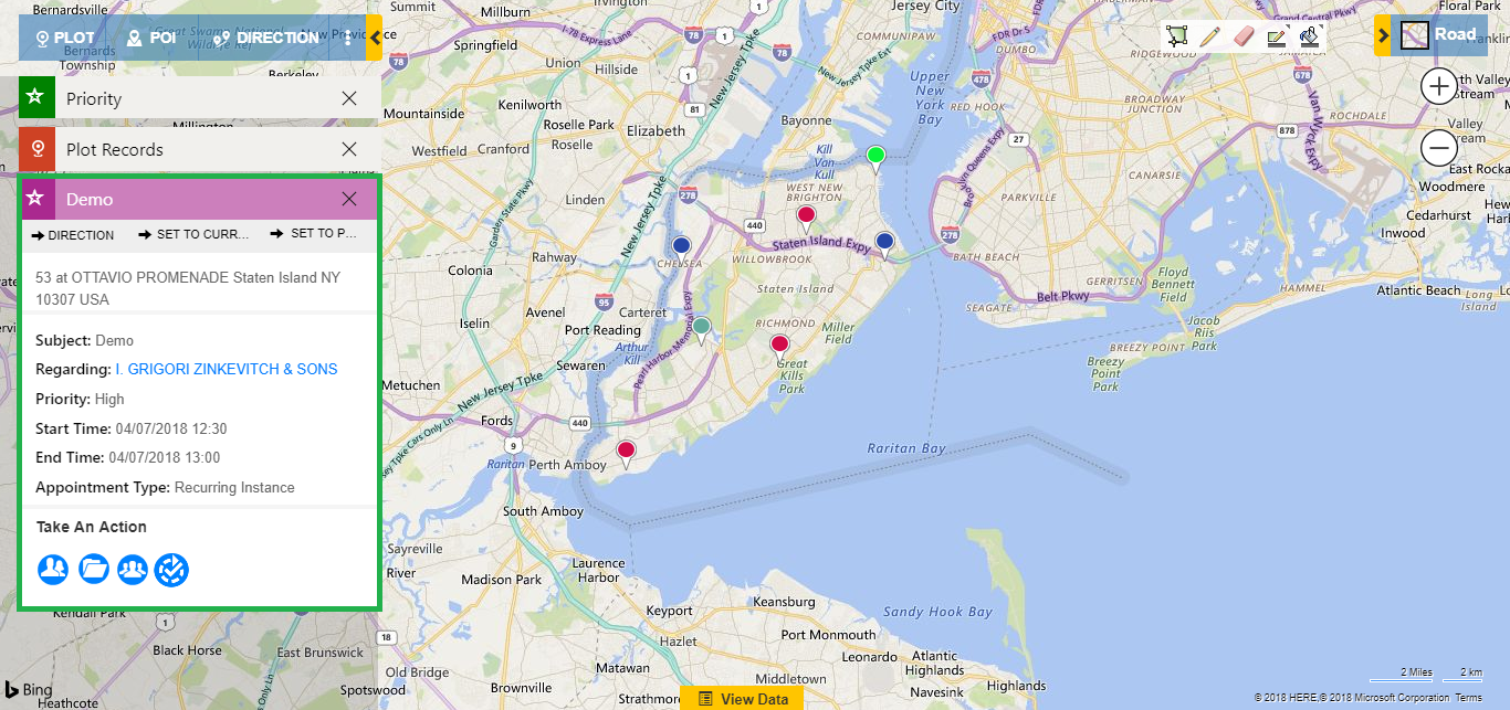 Visualize Dynamics CRM data on map