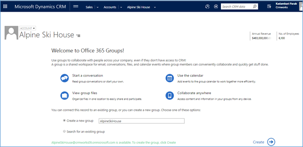 create Office 365 Groups in Dynamics CRM Online