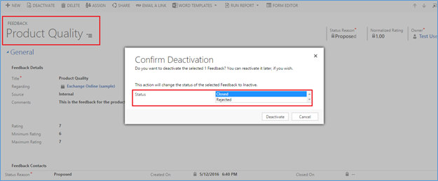 Deactivating Feedback in dynamics crm