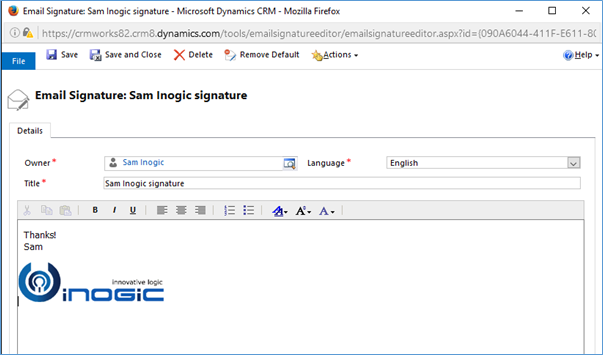 Insert Signature in Dynamics CRM 2016 Update 1 Email – An OOB