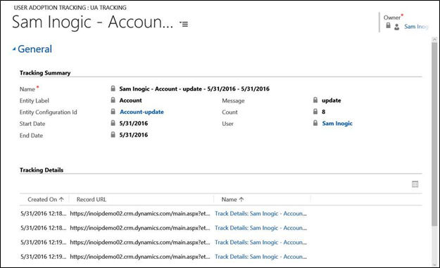 Dynamics CRM Activity Tracker