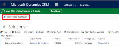 Dynamics CRM ADXstudio installar