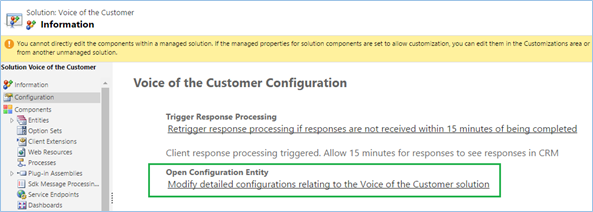 Configuration Entity for VoC