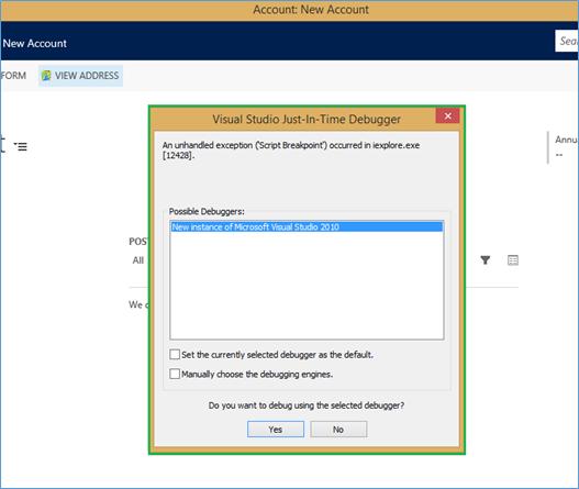 Visual Studio Just-In-Time Debugger