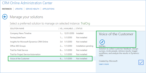 Voice of Customer for CRM 2016