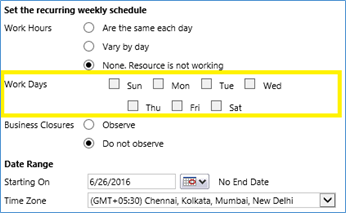 set the recurring weekly schedule