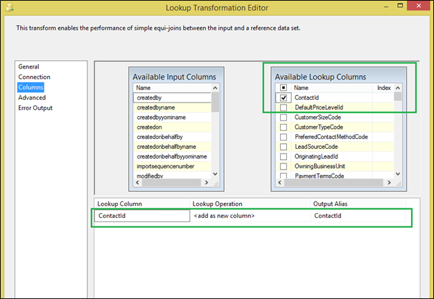 SSIS Lookup for Dynamics CRM