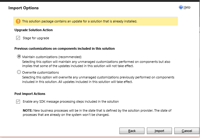 import actions Dynamics CRM