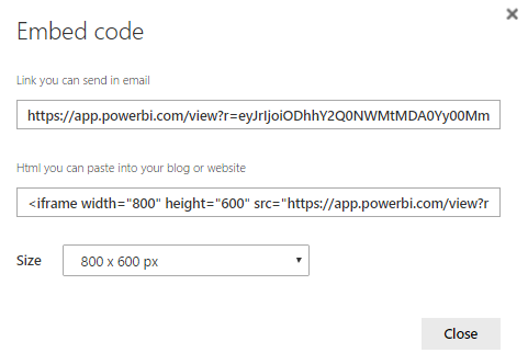 Embed Code Publish to web Power BI 10