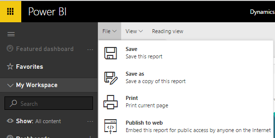 Publish to web Power BI Dynamics CRM 9