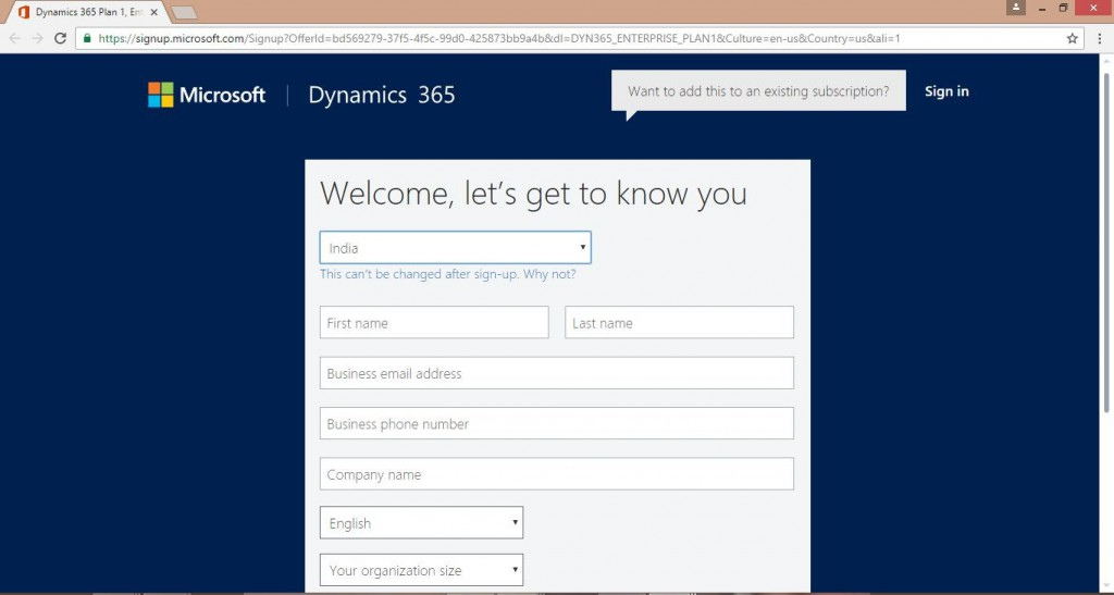 Sign up page Dynamics 365