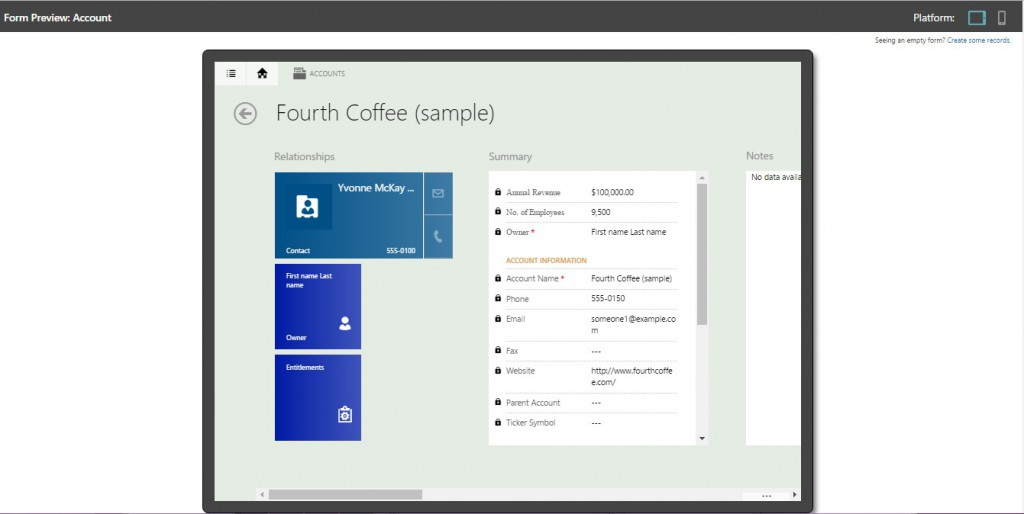 form preview Dynamics CRM 2016