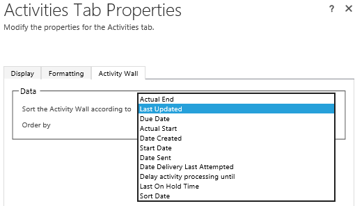 Sort Social Pane activities in Dynamics 36