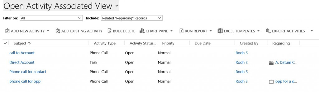 Configure Rollup view for activities