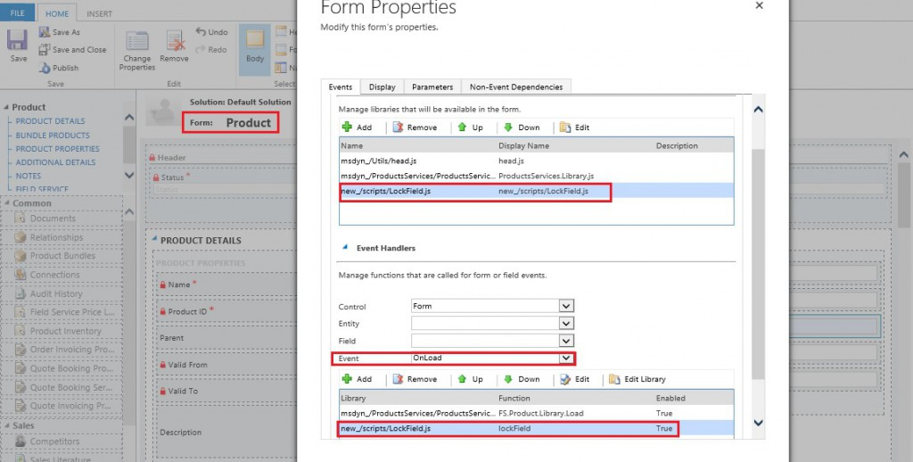 Set Default Price List field on Product as Read-Only in Dynamics CRM