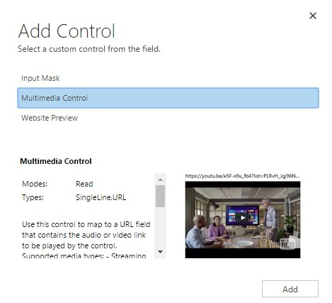 Add Multimedia control