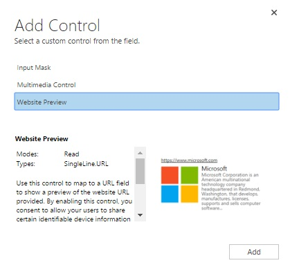 Controls in Dynamics 365 for Mobile App - Website Preview