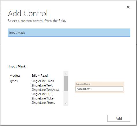 add the Input Mask control
