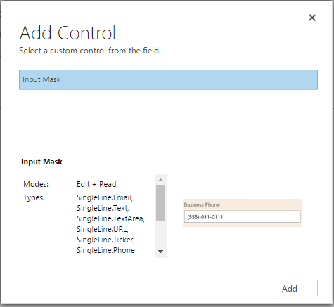 Controls in Dynamics 365 for Mobile App: Input Mask | Microsoft