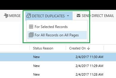 Detect Duplicates Ribbon Button in Dynamics 365