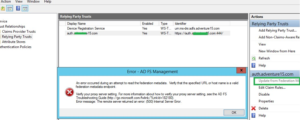 Unable to Update Relying Party in ADFS for Dynamics 365/CRM