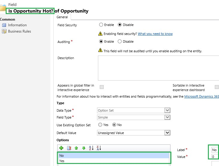 attribute type in Dynamics 365 Customer Engagement