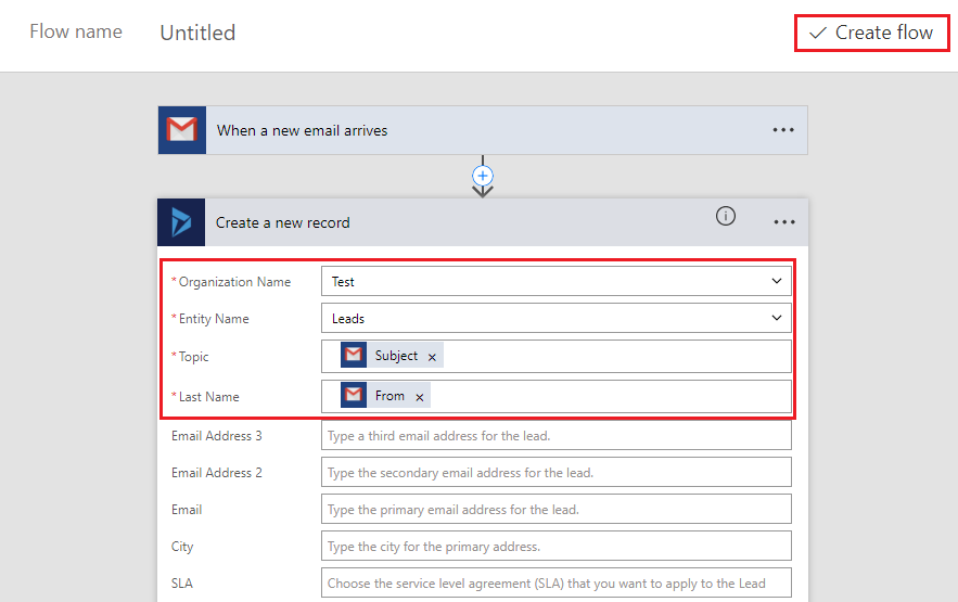 Create record in Dynamics CRM