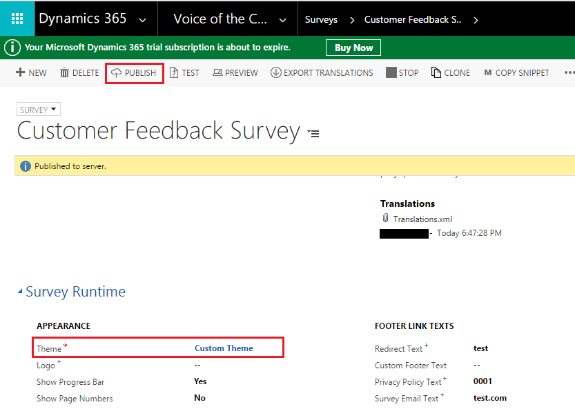 Apply Custom CSS to VOC Survey in Dynamics 365