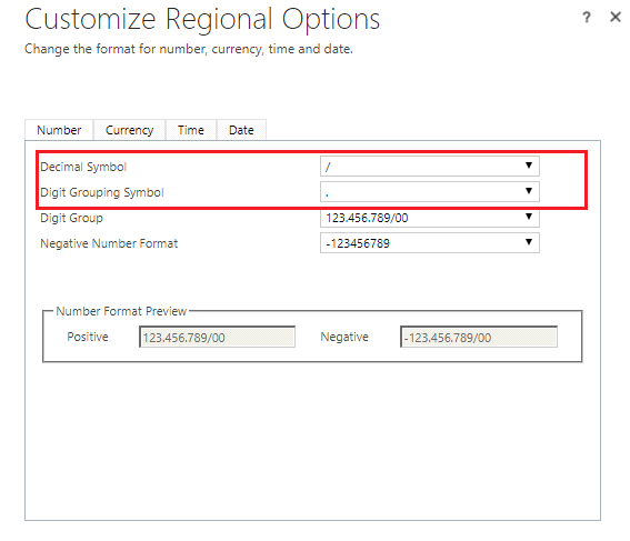Reading 'Set Personal Options' user settings and applying it on Number and Currency Datatype Fields