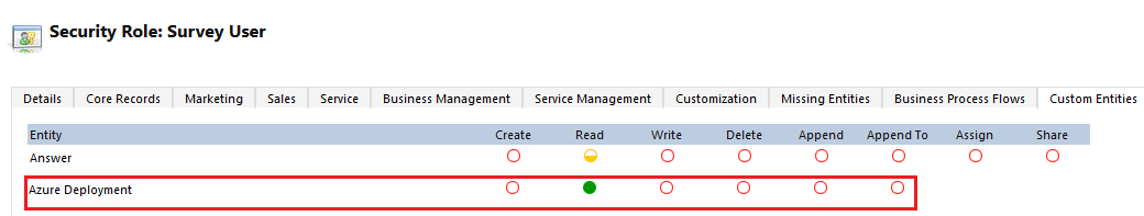 Azure deployment read privilege to the Survey user role