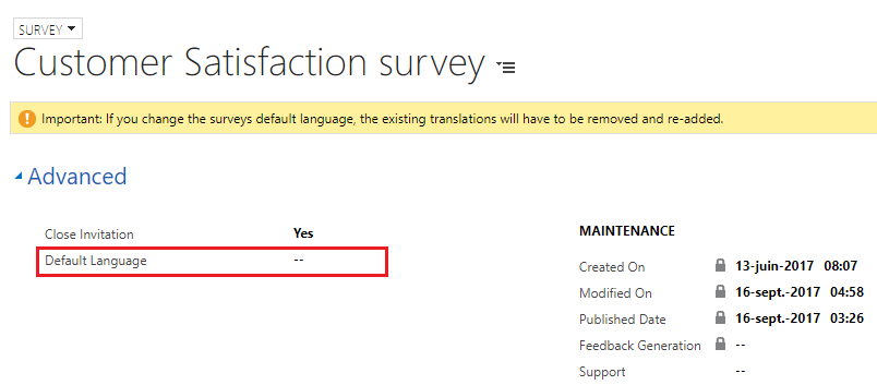 Change default language drop-down name using translations in VOC Survey