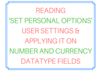 Reading Set Personal Options user settings and applying it on Number and Currency Datatype Fields