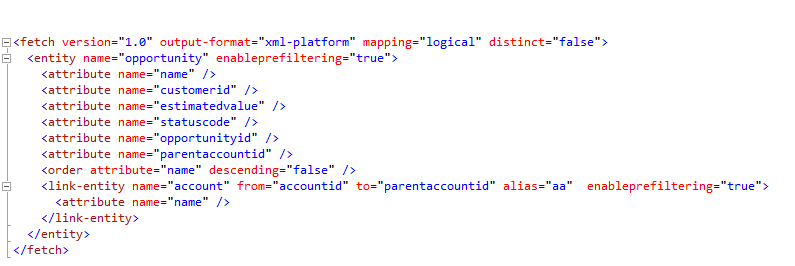 Working with Report Pre-Filtering for related entities using Fetch XML